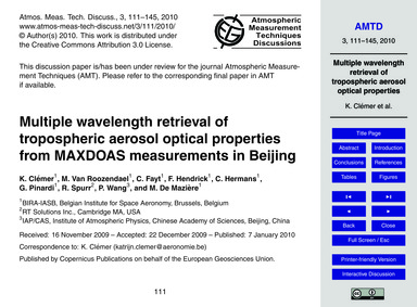 Multiple Wavelength Retrieval of Troposp... by Clémer, K.