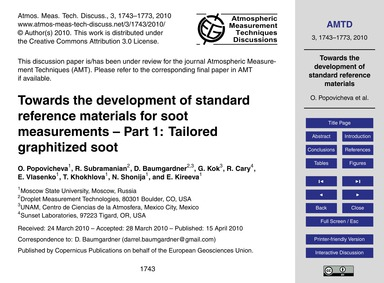 Towards the Development of Standard Refe... by Popovicheva, O.
