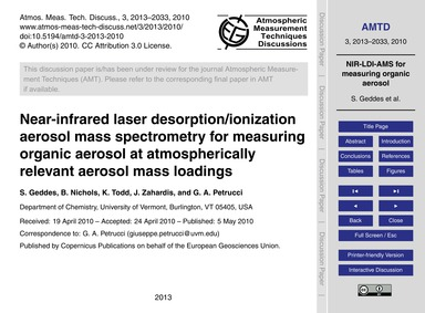Near-infrared Laser Desorption/Ionizatio... by Geddes, S.