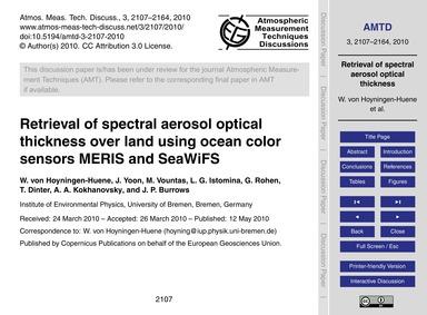 Retrieval of Spectral Aerosol Optical Th... by Von Hoyningen-huene, W.