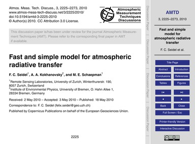 Fast and Simple Model for Atmospheric Ra... by Seidel, F. C.
