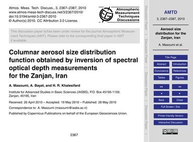 Columnar Aerosol Size Distribution Funct... by Masoumi, A.