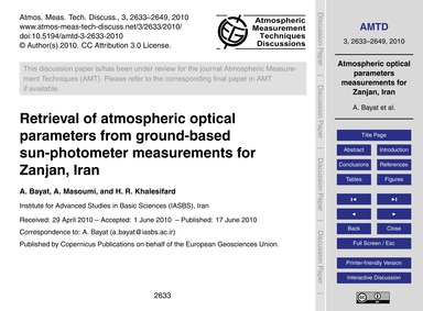 Retrieval of Atmospheric Optical Paramet... by Bayat, A.