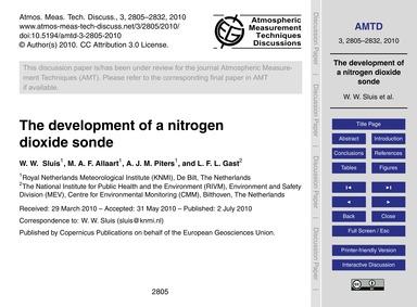 The Development of a Nitrogen Dioxide So... by Sluis, W. W.