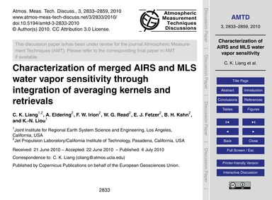 Characterization of Merged Airs and Mls ... by Liang, C. K.