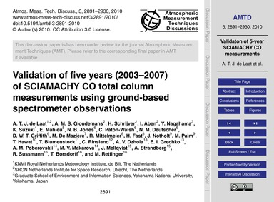 Validation of Five Years (2003–2007) of ... by De Laat, A. T. J.