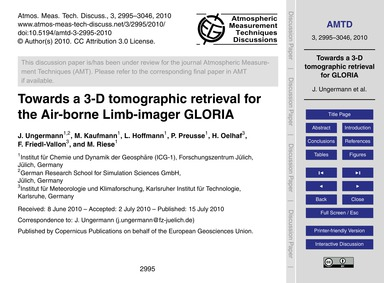 Towards a 3-d Tomographic Retrieval for ... by Ungermann, J.