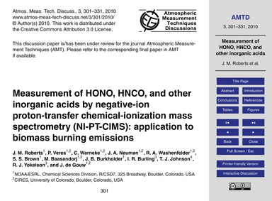 Measurement of Hono, Hnco, and Other Ino... by Roberts, J. M.