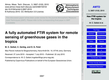 A Fully Automated Ftir System for Remote... by Geibel, M. C.