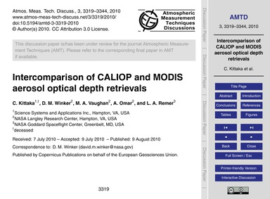 Intercomparison of Caliop and Modis Aero... by Kittaka, C.
