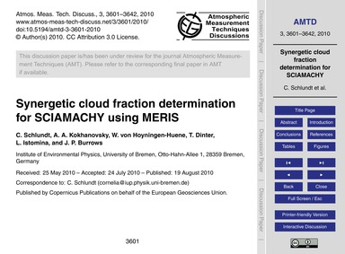 Synergetic Cloud Fraction Determination ... by Schlundt, C.