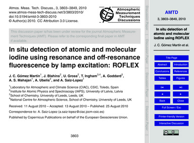 In Situ Detection of Atomic and Molecula... by Gómez Martín, J. C.