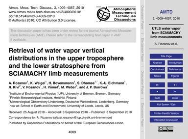 Retrieval of Water Vapor Vertical Distri... by Rozanov, A.