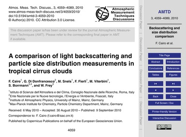 A Comparison of Light Backscattering and... by Cairo, F.