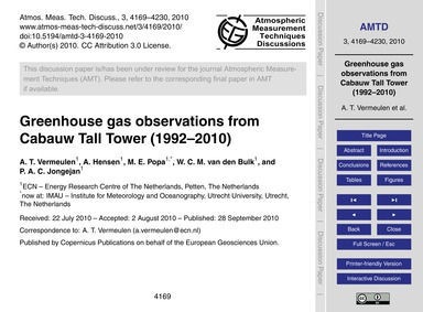 Greenhouse Gas Observations from Cabauw ... by Vermeulen, A. T.
