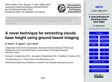 A Novel Technique for Extracting Clouds ... by Hirsch, E.
