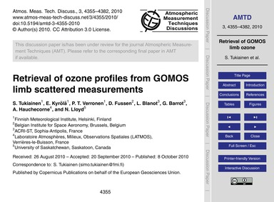Retrieval of Ozone Profiles from Gomos L... by Tukiainen, S.