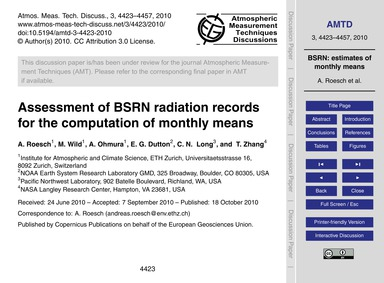 Assessment of Bsrn Radiation Records for... by Roesch, A.