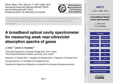 A Broadband Optical Cavity Spectrometer ... by Chen, J.