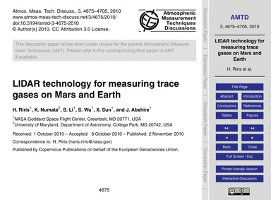 Lidar Technology for Measuring Trace Gas... by Riris, H.