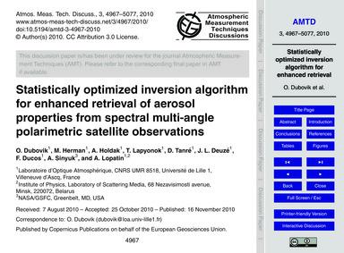 Statistically Optimized Inversion Algori... by Dubovik, O.