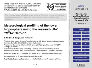 Meteorological Profiling of the Lower Tr... by Martin, S.
