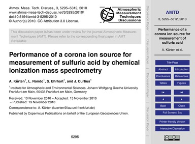 Performance of a Corona Ion Source for M... by Kürten, A.