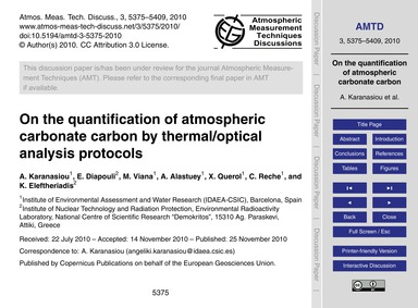 On the Quantification of Atmospheric Car... by Karanasiou, A.