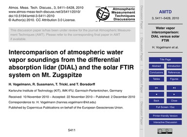 Intercomparison of Atmospheric Water Vap... by Vogelmann, H.