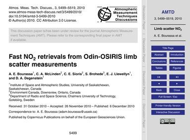 Fast No2 Retrievals from Odin-osiris Lim... by Bourassa, A. E.