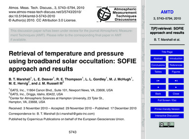 Retrieval of Temperature and Pressure Us... by Marshall, B. T.