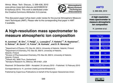 A High-resolution Mass Spectrometer to M... by Junninen, H.