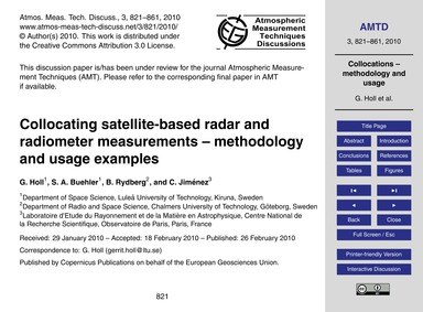 Collocating Satellite-based Radar and Ra... by Holl, G.