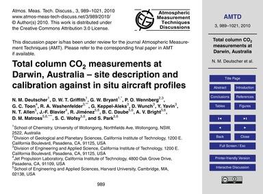 Total Column Co2 Measurements at Darwin,... by Deutscher, N. M.