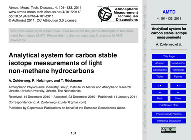 Analytical System for Carbon Stable Isot... by Zuiderweg, A.