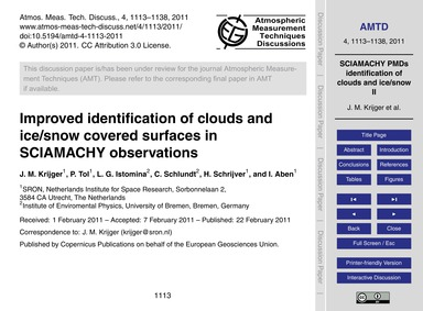 Improved Identification of Clouds and Ic... by Krijger, J. M.