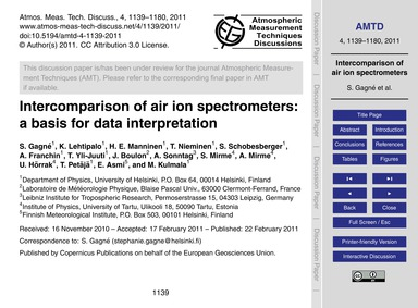 Intercomparison of Air Ion Spectrometers... by Gagné, S.