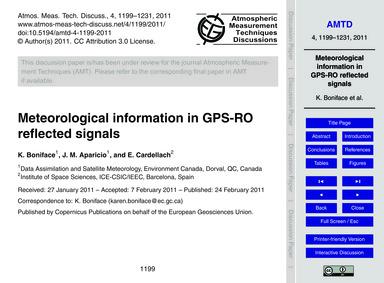 Meteorological Information in Gps-ro Ref... by Boniface, K.