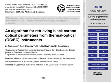 An Algorithm for Retrieving Black Carbon... by Andersson, A.