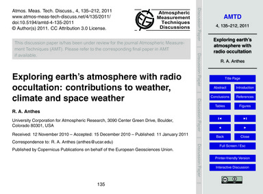 Exploring Earth's Atmosphere with Radio ... by Anthes, R. A.