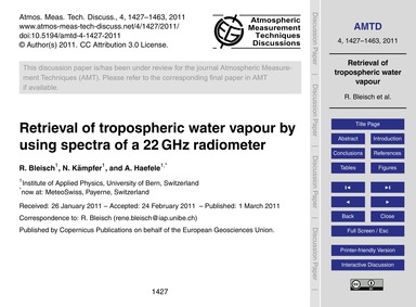 Retrieval of Tropospheric Water Vapour b... by Bleisch, R.