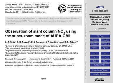 Observation of Slant Column No2 Using th... by Valin, L. C.