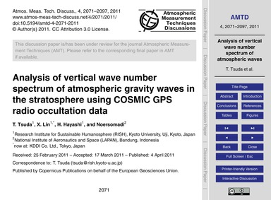 Analysis of Vertical Wave Number Spectru... by Tsuda, T.