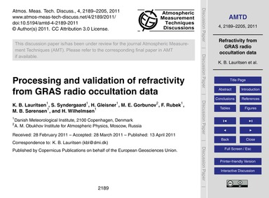 Processing and Validation of Refractivit... by Lauritsen, K. B.