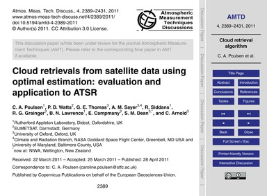 Cloud Retrievals from Satellite Data Usi... by Poulsen, C. A.