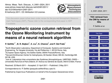 Tropospheric Ozone Column Retrieval from... by Sellitto, P.