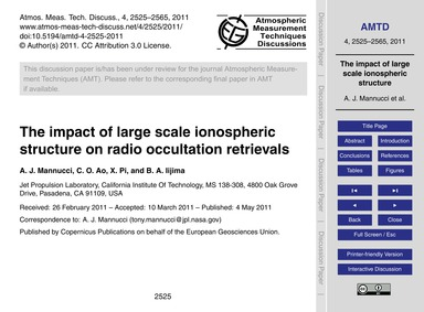 The Impact of Large Scale Ionospheric St... by Mannucci, A. J.