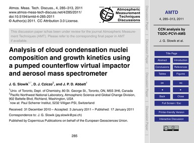 Analysis of Cloud Condensation Nuclei Co... by Slowik, J. G.
