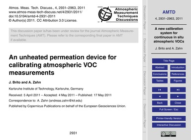 An Unheated Permeation Device for Calibr... by Brito, J.