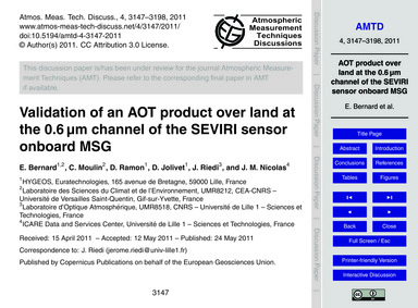 Validation of an Aot Product Over Land a... by Bernard, E.